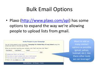 Bulk Email Options