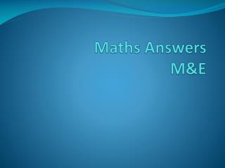 Maths Answers M&E