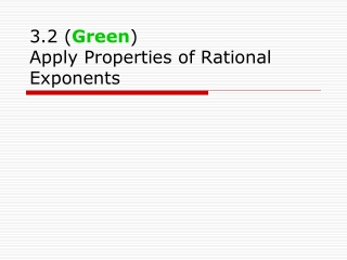 Apply Properties of Rational Exponents