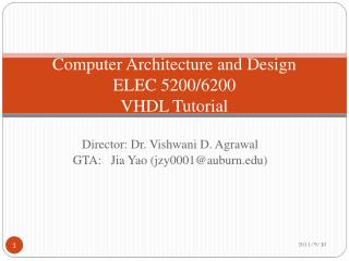 Computer Architecture and Design ELEC 5200/6200 VHDL Tutorial