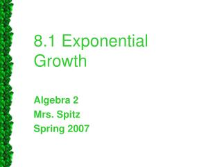 8.1 Exponential Growth