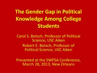 The Gender Gap in Political Knowledge Among College Students