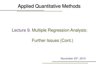 Multiple Regression Model: Further Issues