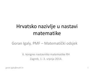 Hrvatsko nazivlje u nastavi matematike
