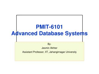 PMI T-6101 Advanced Database Systems