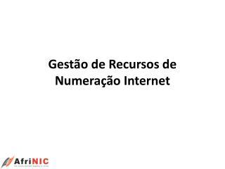 Gest ão  de Recursos de Numeração  Internet