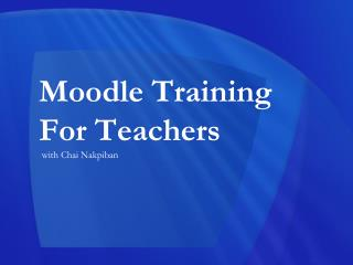 Moodle Training For Teachers