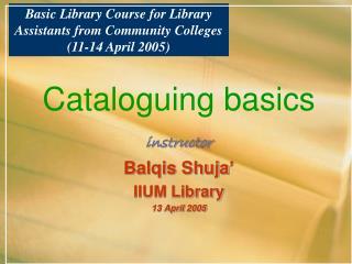 Cataloguing basics