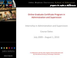Online Graduate Certificate Program in Administration and Supervision