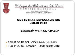 OBSTETRAS ESPECIALISTAS  JULIO  2013                          RESOLUCIÓN Nº 041-2013  /CDN/COP