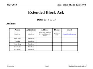 Extended Block  Ack