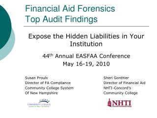Financial Aid Forensics Top Audit Findings