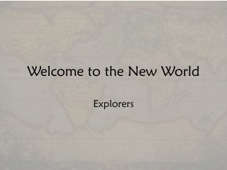 Exploration of the New World