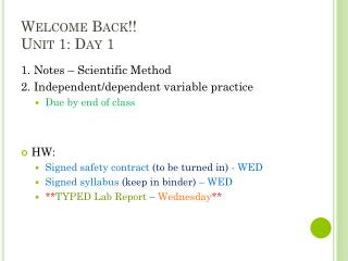 Welcome Back!! Unit 1: Day 1