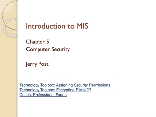Chapter 1 Introduction: Computer and Network Security