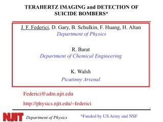 TERAHERTZ IMAGING and DETECTION OF SUICIDE BOMBERS