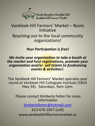 Vankleek  Hill Farmers' Market – Roots Initiative