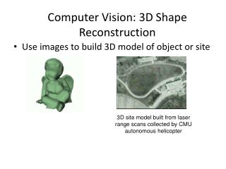 Computer Vision: 3D Shape Reconstruction