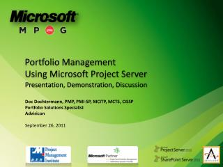 Portfolio  Management  Using Microsoft Project Server