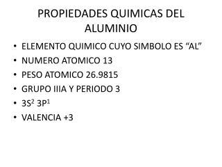 PROPIEDADES QUIMICAS DEL ALUMINIO