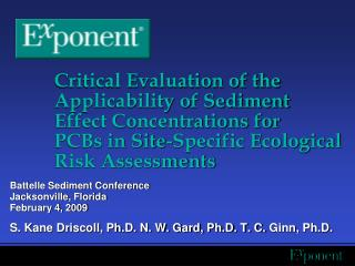 Critical Evaluation of the Applicability of Sediment Effect Concentrations for PCBs in Site-Specific Ecological Risk Ass