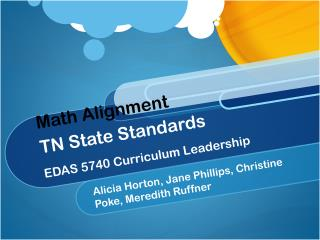 Math Alignment TN State Standards EDAS 5740 Curriculum Leadership