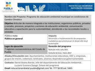 Nombre del Proyecto: Programa de educación ambiental municipal en condiciones de Cambio Climático
