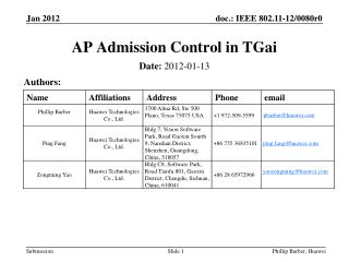 AP Admission Control in  TGai