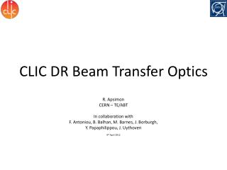 CLIC DR Beam Transfer Optics
