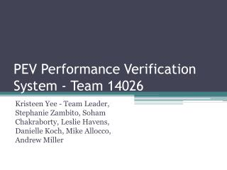 PEV Performance  Verification System - Team  14026