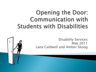 Opening the Door: Communication with Students with Disabilities