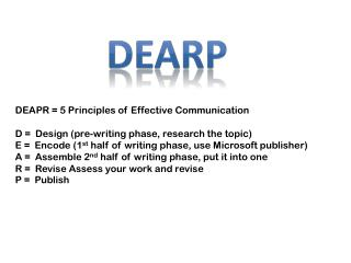 DEAPR = 5 Principles of Effective Communication