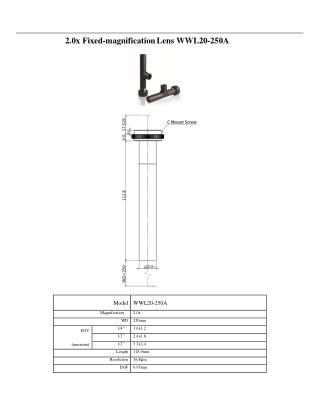 2 . 0 x Fixe d - magnif i c ation L e n s W W L 20 - 250 A