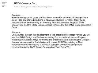 BMW Concept Car Surface development and quality management