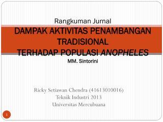 Ricky  Setiawan Chendra  (41613010016) Teknik Industri  2013 Universitas Mercubuana