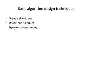 Basic algorithm design techniques