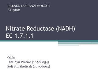 Nitrate  Reductase  (NADH) EC 1.7.1.1