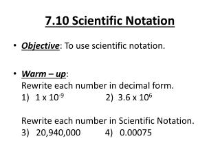 7.10 Scientific Notation