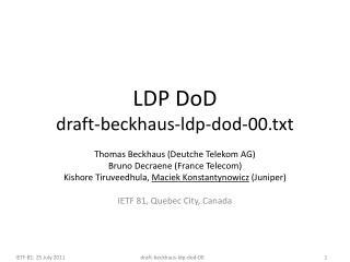 LDP DoD draft-beckhaus-ldp-dod-00.txt