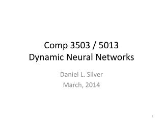 Comp 3503 / 5013 Dynamic Neural Networks