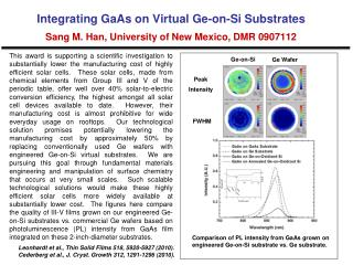 Comparison of PL intensity from GaAs grown on engineered Ge-on-Si substrate vs. Ge substrate.