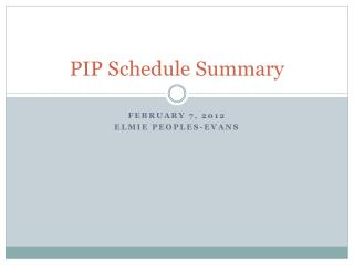 PIP Schedule Summary