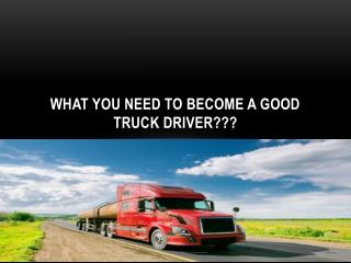 What you need to become a good truck driver???