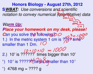 Honors Biology - August 27th, 2012