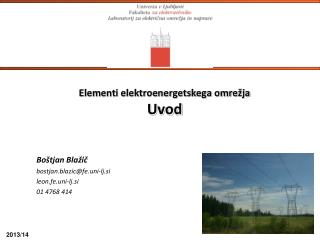 Elementi elektroenergetskega omrežja Uvod