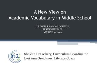 A New View on  Academic Vocabulary in Middle School