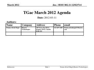 TGac  March 2012 Agenda