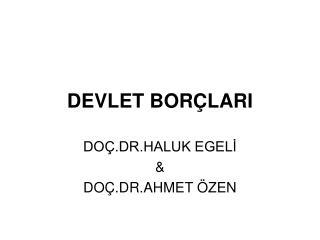 DEVLET BORÇLARI