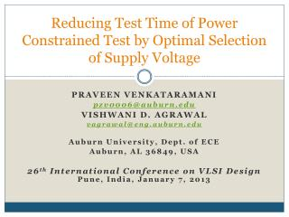 Reducing Test Time of Power Constrained Test by Optimal Selection of  Supply Voltage
