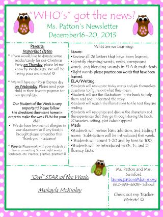 """WHO's"" got the news?  Ms. Patton's Newsletter December16-20, 2013"